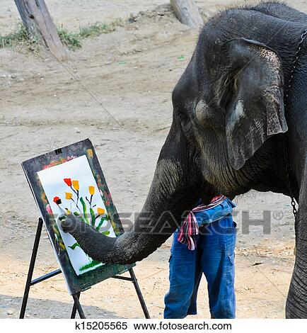 stock bild elefant k nstler gem lde k15205565 suche. Black Bedroom Furniture Sets. Home Design Ideas