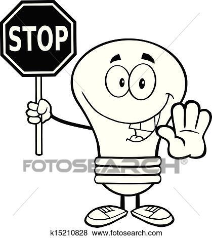概述, 灯泡, 卡通漫画, 性格, 握住, a, 停止签署