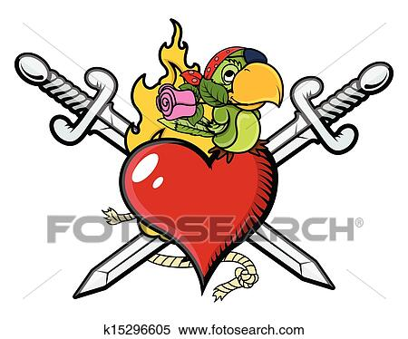 Clipart pirata cuore con spada e pappagallo for Clipart cuore