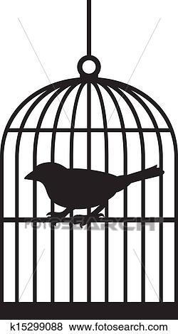 Clip art silhouette uccello gabbie k15299088 cerca clipart poster illustrazioni disegni - Dessin oiseau en cage ...