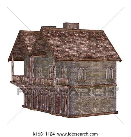 Dessins moyen ge maison ville isol sur les fond blanc k15311124 recherche de clip - Dessins moyen age ...