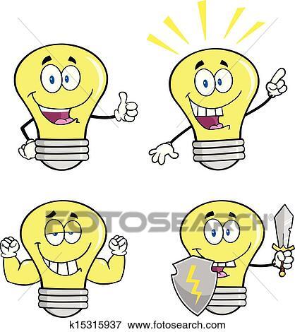 黄色的光, 灯泡, 卡通漫画, 性格, 放置, 矢量, 收集