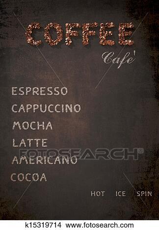 手绘图 - 咖啡, 菜单,