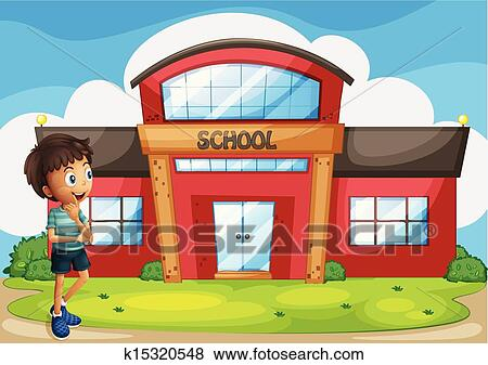Clip Art of A boy in front of the school building k15320548 ...