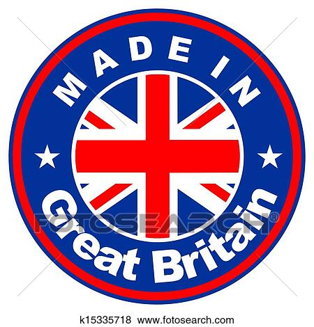 Wall mural - made in uk seal, united kingdom flag (vector art)