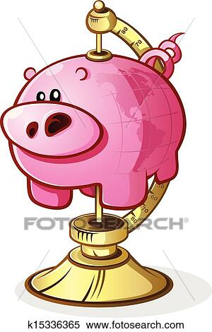 Clipart tirelire globe dessin anim caract re - Tirelire dessin ...