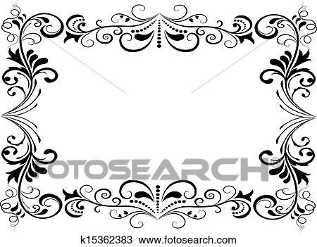 clipart schwarz wei blumen vektor rahmen freigestellt wei hintergrund k15362383. Black Bedroom Furniture Sets. Home Design Ideas