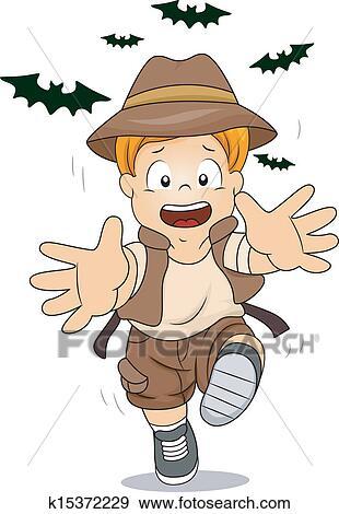 Clip Art of Kid Boy Running Away from Bats k15372229 ...