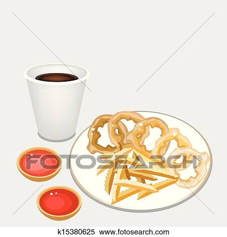 Clipart of French Fries and Onion Ring with Disposable ...