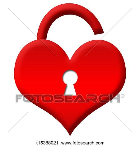 clipart of red heart shape lock unlocked k15388021