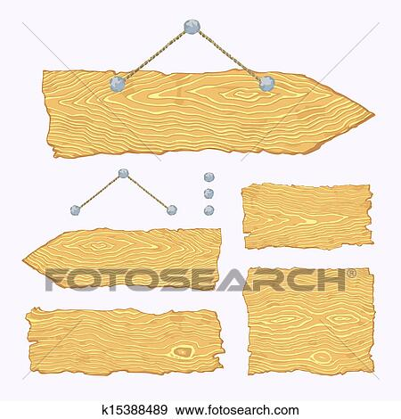 Clipart of Wooden sign with rope hanging on a nail, cloud design ...