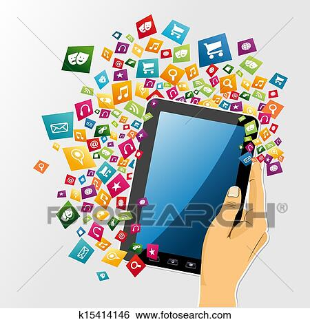 clipart main humaine tablette num rique pc app icons k15414146 recherchez des cliparts. Black Bedroom Furniture Sets. Home Design Ideas