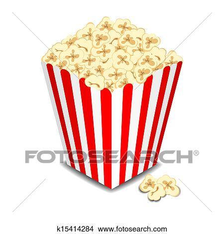 Clip Art Clipart Popcorn clip art of popcorn in a striped tub k6780338 search clipart box with vector