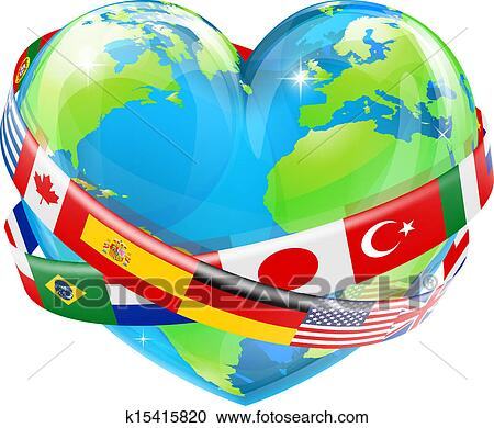 Clipart of Heart globe with flags k15415820 - Search Clip Art ...