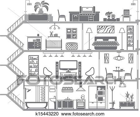 clipart maison int rieur silhouette vecteur. Black Bedroom Furniture Sets. Home Design Ideas