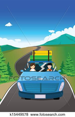 clip art of couple riding a car going on a road trip k15449578 search clipart illustration. Black Bedroom Furniture Sets. Home Design Ideas