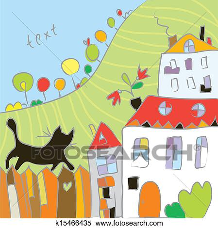 clipart kid drawing autumn at the village cartoon fotosearch search clip art