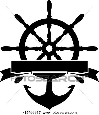 Clip Art of Steering Wheel and Anchor k15466917 - Search ...