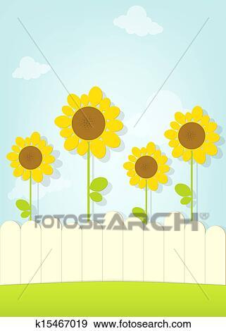 剪贴画 向日葵, 在栅栏后面