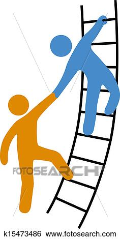 Clip Art of People helping join up ladder k15473486 - Search ...