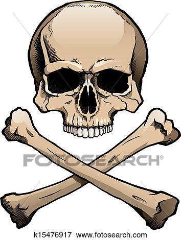 Clip Art of Jolly Roger pirate skull and crossbones k26214998 ...