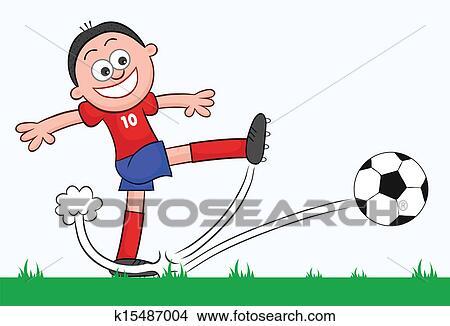 手绘图 - 卡通漫画, 英式足球表演者, 踢图片