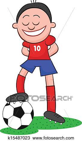 Tegning karikatur fotballspiller med ball fotosearch søk