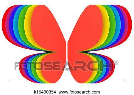 绘画 图画 蝴蝶, 形状, 符号, 在中, 彩虹颜色, 在怀特上 k