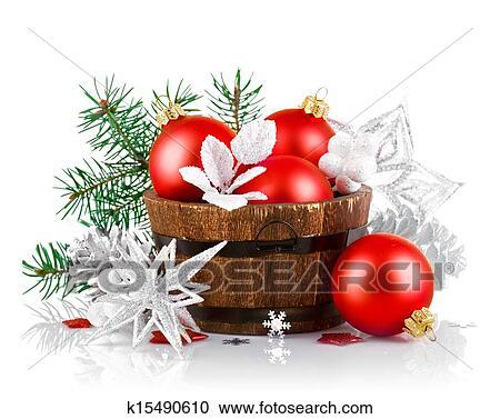stock fotografie weihnachten lametta mit zweig firtree und rot kugeln k15490610 suche. Black Bedroom Furniture Sets. Home Design Ideas