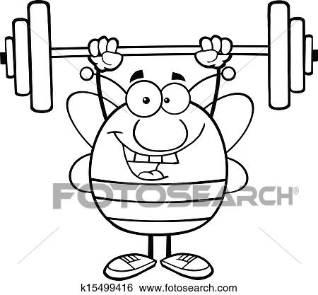Clip Art of Black And White Bee Lifting Weights k15499416 ...