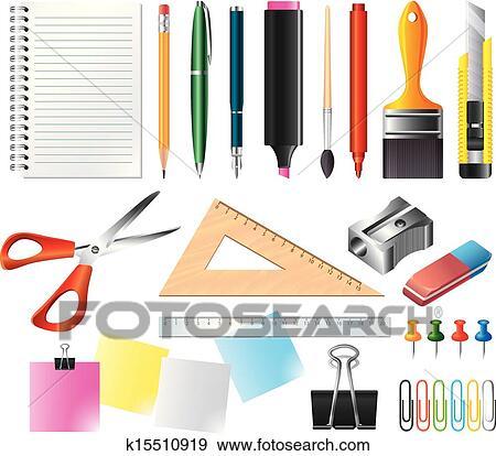 Clip Art - disegno, e, ufficio, attrezzi, vettore, set k15510919 ...
