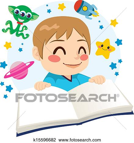 Clipart of Boy Reading Science Fiction Book k15596682 ...