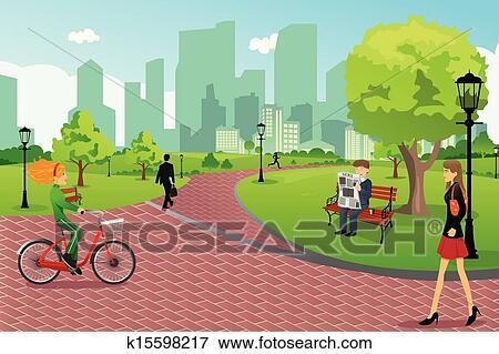 Clip Art Clipart Park park clipart royalty free 51705 clip art vector eps people in a city park