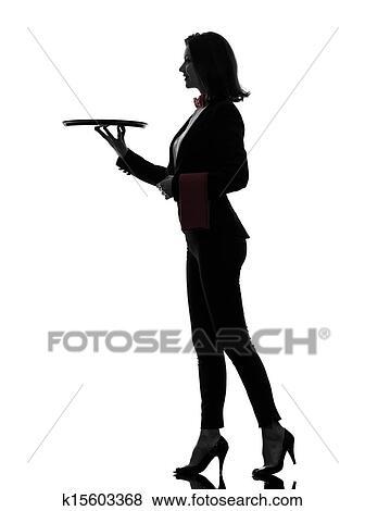 images femme serveur ma tre d 39 h tel tenue vide plateau silhouette k15603368 recherchez. Black Bedroom Furniture Sets. Home Design Ideas