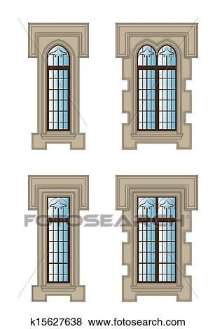 Clipart gothique fenetres ensemble k15627638 for Fenetre gothique