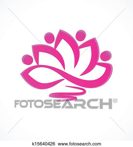 Clip Art of Pink lotus flower icon vector k15640426 - Search ...