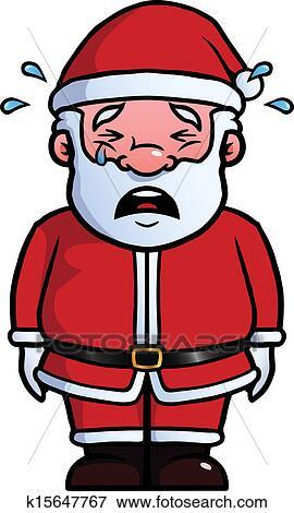 剪贴画 - 圣诞老人, 哭泣