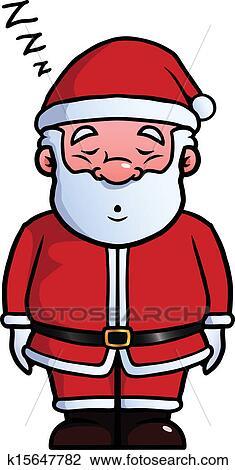 剪贴画 - 圣诞老人, 睡觉