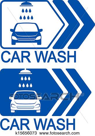 Drawing of car wash icon with arrow k15656073 - Search Clipart ...