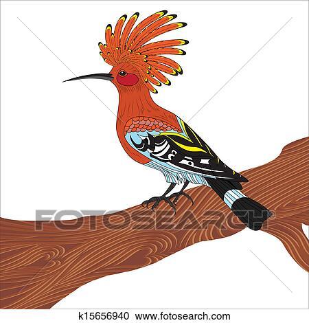 clipart of bird hoopoe vector illustration k15656940