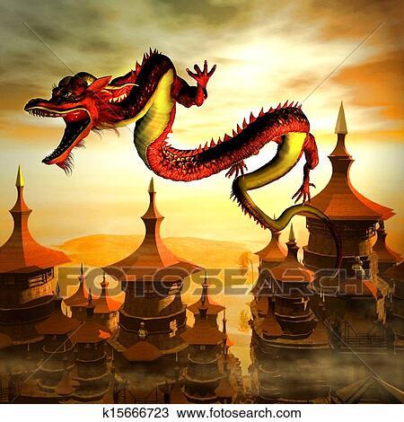 手绘图 - 中国龙. fotosearch