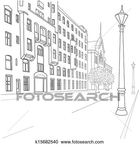 Clipart of city street k15682540 - Search Clip Art ...