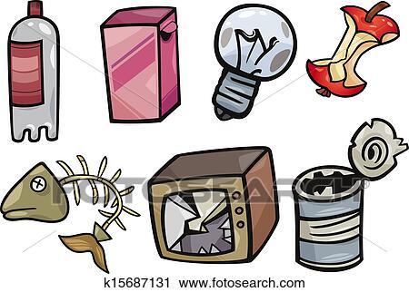 clipart muell gegenst nde karikatur abbildung satz k15687131 suche clip art. Black Bedroom Furniture Sets. Home Design Ideas