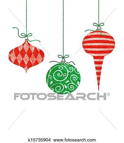 Drawings of Whimsical Hanging Christmas Ornaments ...