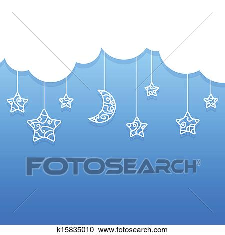 Clipart of Hanging Moon and Stars k17770164 - Search Clip Art ...