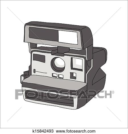 Vintage Polaroid Camera Drawing