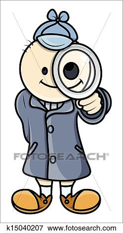 clip art of kid act like detective vector k15040207 search rh fotosearch com detective clipart animation detective clipart free