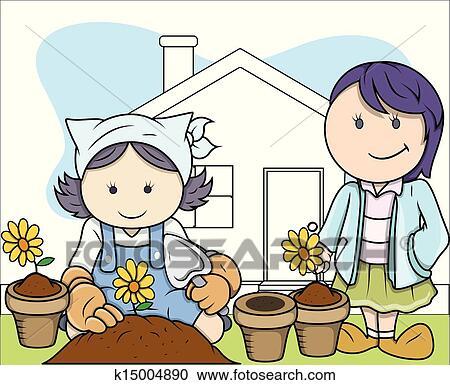 Clipart Of Kids Planting Plants In Garden K15004890