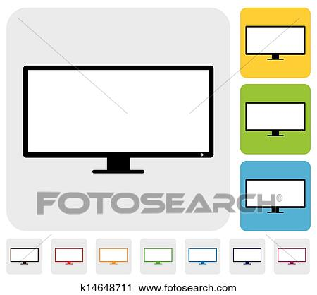 clipart of lcd or led flat tv television screen simple vector rh fotosearch com King Arthur Clip Art Thanks Clip Art