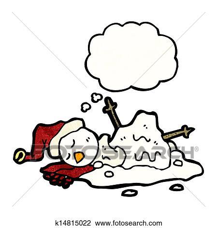 clipart of melting snowman cartoon k14815022 search clip art rh fotosearch com Melting Clip Art animated melting snowman clipart